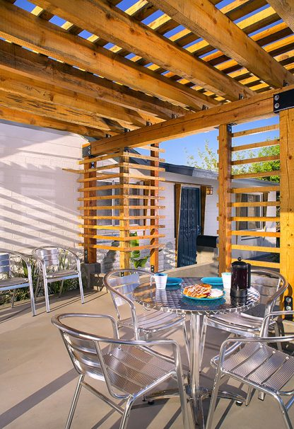 Wood pergola designed by Trevor Pan.