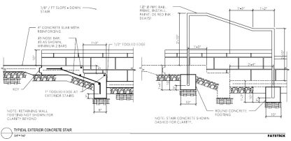 Detail of how to build a concrete stair and handrail.