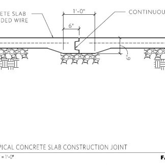 Typical Concrete Slab Construction Joint Detail.