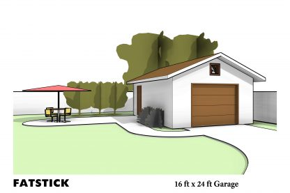 16 ft x 24 ft Freestanding Garage by FATSTICK